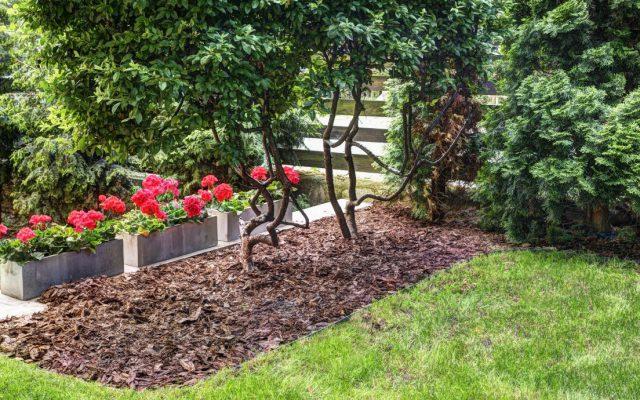 Montage der geoBORDER – Umrandung im Garten